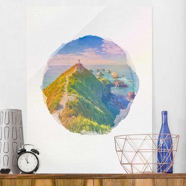 Glasbild - Wasserfarben - Nugget Point Leuchtturm und Meer Neuseeland - Hochformat 4:3