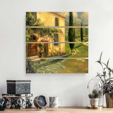 Holzbild - Italienische Landschaft - Zypresse - Quadrat 1:1