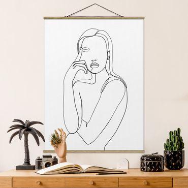 Stoffbild mit Posterleisten - Line Art Nachdenkliche Frau Schwarz Weiß - Hochformat 4:3