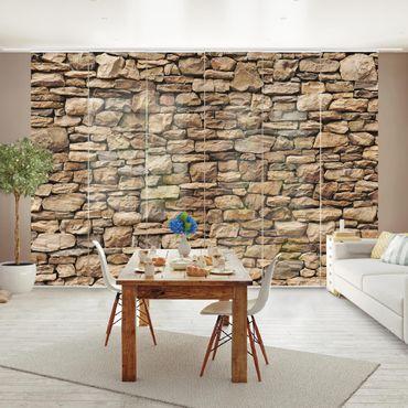 Schiebegardinen Set - Amerikanische Steinwand - Flächenvorhänge