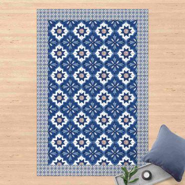 Vinyl-Teppich - Marokkanische Fliesen Aquarellblumen mit Fliesenrahmen - Hochformat 2:3