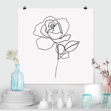Poster - Line Art Rose Schwarz Weiß - Quadrat 1:1