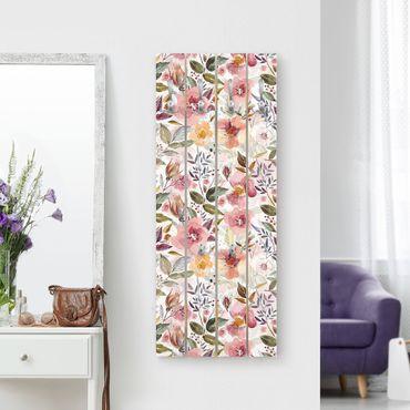 Wandgarderobe Holz - Bunter Blumenmix mit Aquarell - Haken chrom Hochformat