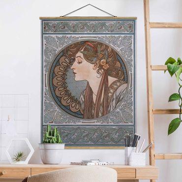 Stoffbild mit Posterleisten - Alfons Mucha - Helena - Hochformat 4:3