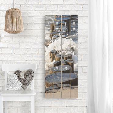 Wandgarderobe Holz - Wellenbrecher am Strand - Haken chrom Hochformat