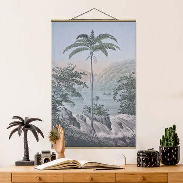 Stoffbild mit Posterleisten - Vintage Illustration - Landschaft mit Palme - Hochformat 3:2