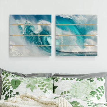 Holzbild 2-teilig - Tosende Wellen - Quadrate 1:1