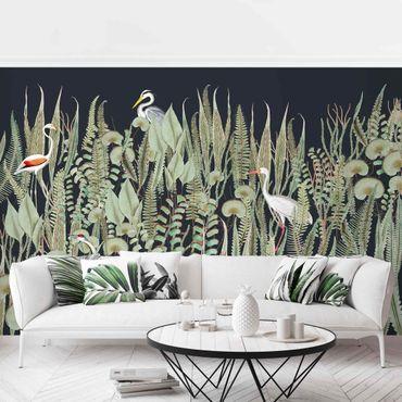 Tapete selbstklebend - Flamingo und Storch mit Pflanzen auf Grün - Fototapete Querformat