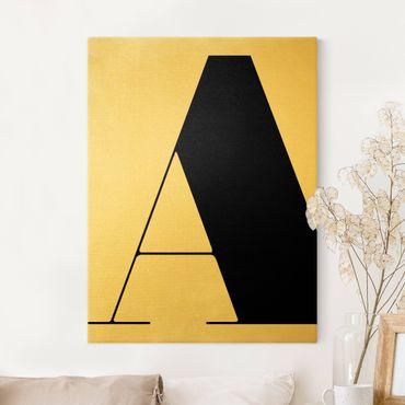 Leinwandbild Gold - Antiqua Letter A - Hochformat 3:4