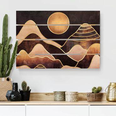 Holzbild - Elisabeth Fredriksson - Goldene Sonne abstrakte Berge - Querformat 2:3