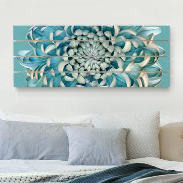 Holzbild - Blaue Chrysantheme - Querformat 2:5