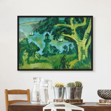 Bild mit Rahmen - Ernst Ludwig Kirchner - Leuchtturm auf Fehmarn - Querformat 3:4