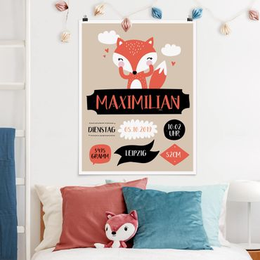 Poster - Der freche Fuchs Wunschtext - Hochformat 3:4