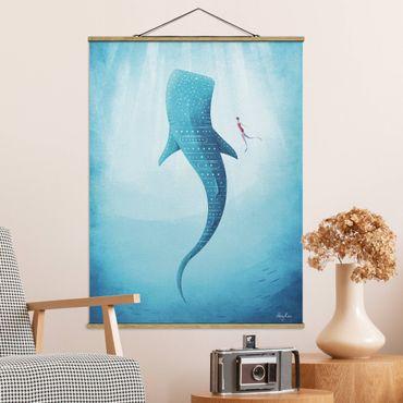 Stoffbild mit Posterleisten - Der Walhai - Hochformat 4:3
