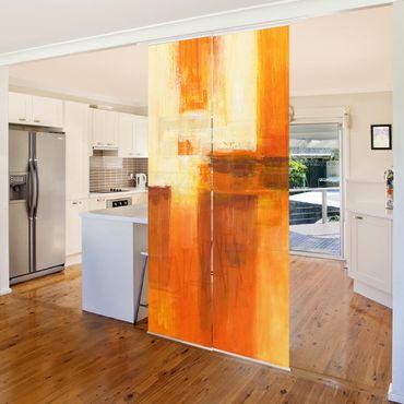 Schiebegardinen Set - Komposition in Orange und Braun 01 - Flächenvorhänge