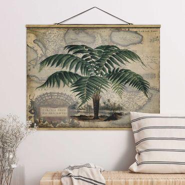 Stoffbild mit Posterleisten - Vintage Collage - Palme und Weltkarte - Querformat 3:4