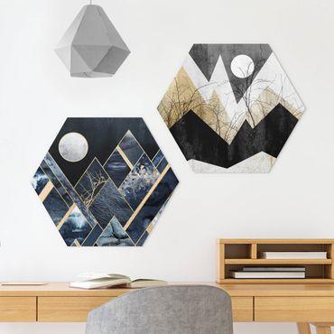 Hexagon Bild Alu-Dibond 2-teilig - Elisabeth Fredriksson - Goldener Mond und geometrische Berge