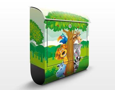 Wandbriefkasten - No.BF1 Dschungeltiere - Briefkasten Bunt