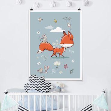 Poster - Fuchs und Maus auf Wanderschaft - Hochformat 3:4