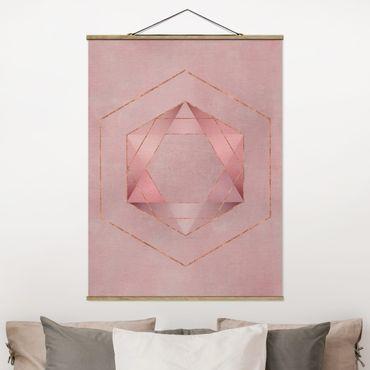 Stoffbild mit Posterleisten - Geometrie in Rosa und Gold I - Hochformat 4:3