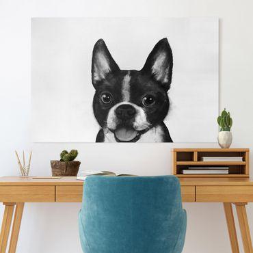 Leinwandbild - Illustration Hund Boston Schwarz Weiß Malerei - Querformat 2:3
