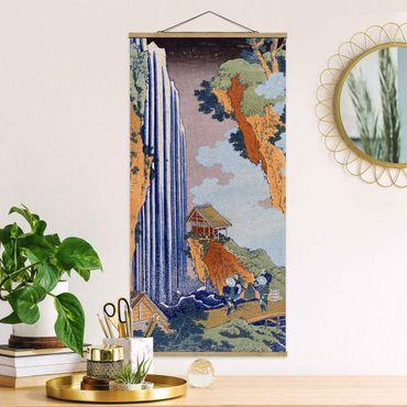 Stoffbild mit Posterleisten - Katsushika Hokusai - Ono Wasserfall - Hochformat 2:1
