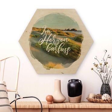 Hexagon Bild Holz - Wasserfarben - Im Herzen barfuss