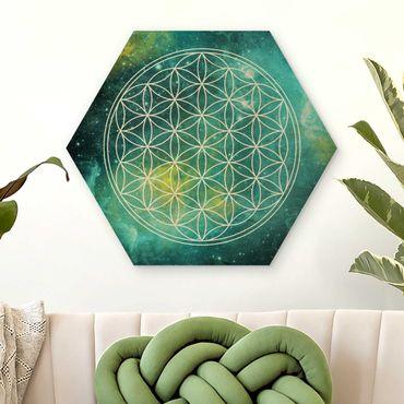 Hexagon Bild Holz - Blume des Lebens im Licht der Sterne