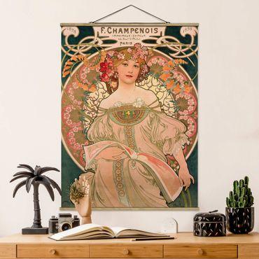 Stoffbild mit Posterleisten - Alfons Mucha - Plakat für F. Champenois - Hochformat 4:3
