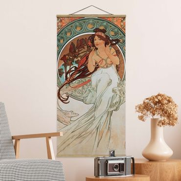 Stoffbild mit Posterleisten - Alfons Mucha - Vier Künste - Die Musik - Hochformat 2:1