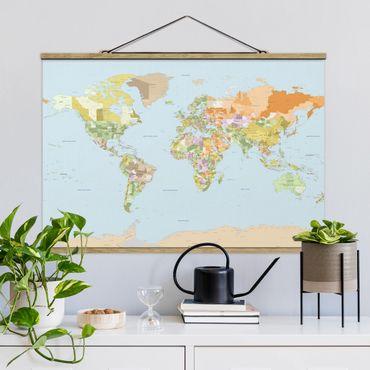 Stoffbild mit Posterleisten - Politische Weltkarte - Querformat 2:3