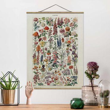 Stoffbild mit Posterleisten - Vintage Lehrtafel Blumen V - Hochformat 3:4