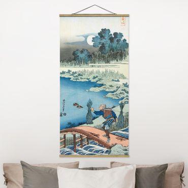 Stoffbild mit Posterleisten - Katsushika Hokusai - Reisträger - Hochformat 2:1