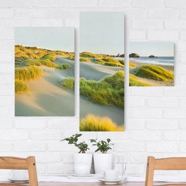 Leinwandbild 3-teilig - Dünen und Gräser am Meer - Collage 1