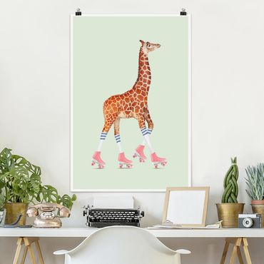 Poster - Jonas Loose - Giraffe mit Rollschuhen - Hochformat 3:2