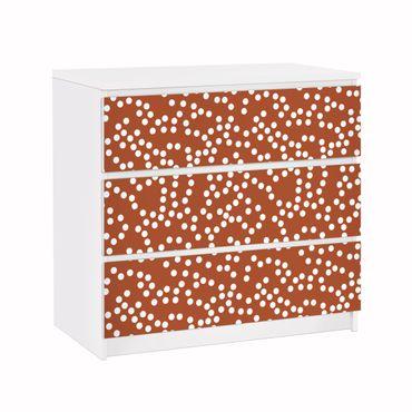 Möbelfolie für IKEA Malm Kommode - Klebefolie Aborigine Punktmuster Braun