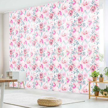 Schiebegardinen Set - Aquarell Blumen Pink mit Blauen Blättern - 6 Flächenvorhänge