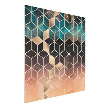 Forex Fine Art Print - Türkis Rosé goldene Geometrie - Quadrat 1:1