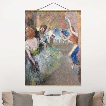 Stoffbild mit Posterleisten - Edgar Degas - Ballettszene - Hochformat 4:3