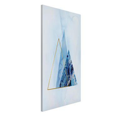 Magnettafel - Geometrie in Blau und Gold II - Memoboard Hochformat 4:3