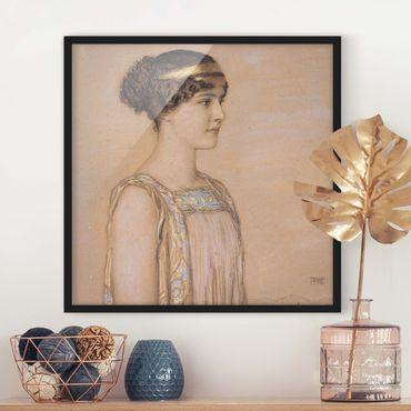 Bild mit Rahmen - Franz von Stuck - Portrait von Mary - Quadrat 1:1