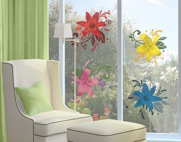 Fensterfolie - Fenstersticker No.BP20 Lilientraum Set - Fensterbilder