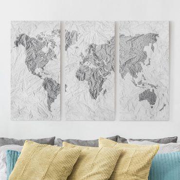 Leinwandbild 3-teilig - Papier Weltkarte Weiß Grau - Hoch 1:2