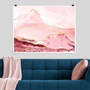 Poster - Abstrakte Berge Rosa mit Goldene Linien - Querformat 3:4