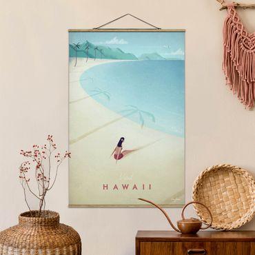 Stoffbild mit Posterleisten - Reiseposter - Hawaii - Hochformat 3:2