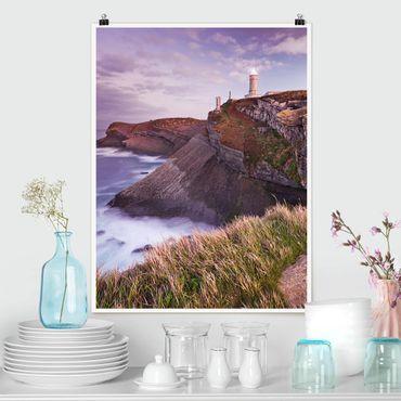 Poster - Steilküste und Leuchtturm - Hochformat 3:4