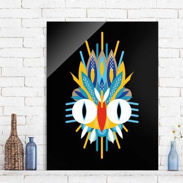 Glasbild - Collage Ethno Maske - Vogel Federn - Hochformat 4:3