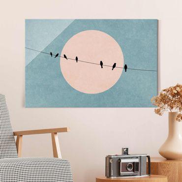 Glasbild - Vögel vor rosa Sonne I - Querformat 2:3