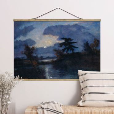 Stoffbild mit Posterleisten - Otto Modersohn - Mondnacht im Teufelsmoor - Querformat 2:3