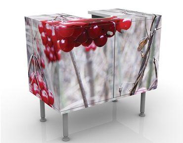 Waschbeckenunterschrank - No.CA42 Waldfrüchte - Badschrank Weiß Rot